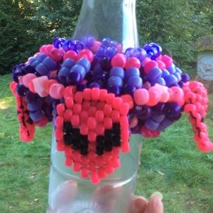 5 Pink Alien Face on UFO Kandi Cuff Rave Bracelet